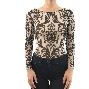 Trac Womens Sheer Baroque Print Bodysuit